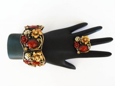 High fashion women's bracelet and ring with rhinestones.