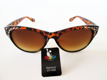Cat Eye High Fashion Black and Brown Sunglasses With Rhinestones For Women