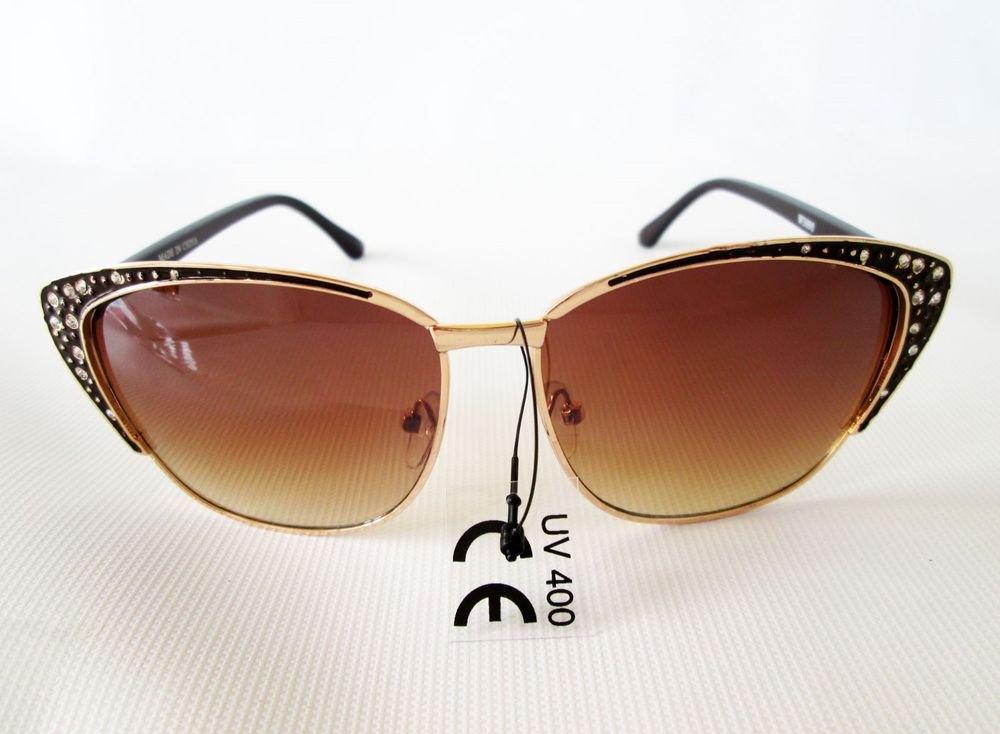 Popuplar Style New Cat Eye Brown Sunglasses With Rhinestones For Fashion Women