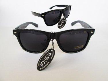 Black Retro 80s Wayfarer Gloss Sunglasses Dark, Black Lenses and Black Frames