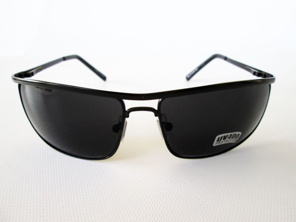 Brand New Men's Aviator Black Sunglasses and Shades With Metal Frames