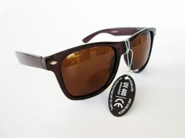 Men Sunglasses Wayfarer Style Dark Brown Frame with Brown Lens  - NEW!