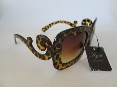 Leopard Print Ladies Sunglasses Shades With Baroque Swirl Arms For Fashion Women