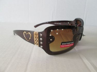 New Arrival Women Shield or Oval Shaped Brown Sunglasses with Rhinestones #3954R