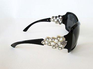 Attractive Brand New Style Womens Sunglasses With Black Smoke Lens & Rhinestones