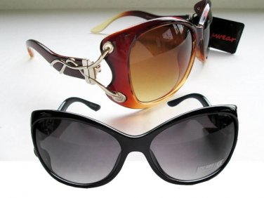 Good & Cheap 2 Pairs Women's Cat Eyes Sunglasses in Black & Brown Lens, 041PB