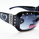 Womens Oval Black Brown Sunglasses With Rhinestones