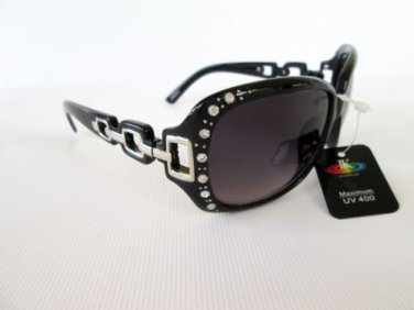 Outdoor Wear Women's Sunglasses with Rhinestones and Black Frames #ZM8067