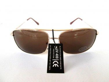 Brand New Mens Aviator Brown Glasses,Sunglasses, Eywear With Gold Metal Frames