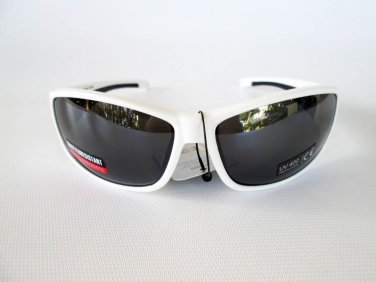 Performance Shades Super Light Weight Sporty Black Sunglasses With White Frames