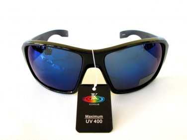Brand New Good Men's Shield or Sporty Sunglasses With Blue Lens & Black Frames
