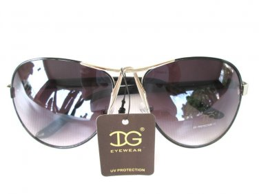 Newest Style Women Oval Aviator High Fashion Sunglasses With Smoked Black Lens
