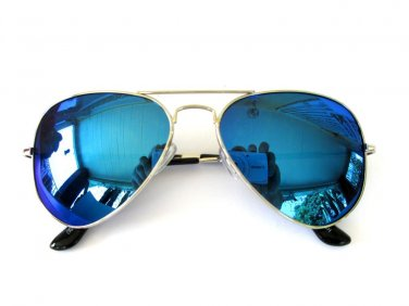 Top Seller Men's Aviator or Shades Sunglasses with Neon Blue Mirror Lens - NEW!