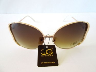 Newest Style Women's Round - Oval Sunglasses With Smoke Lens & Gold Metal Frames