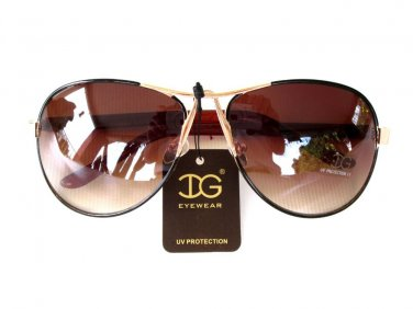 Newest Arrival Women's Oval Round Aviator Fashion Sunglasses With Brown Lens