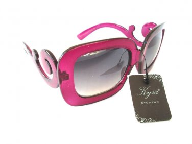 Light Black Big Lens Pink Sunglasses & Shades with Swirl Temple For Women - NEW