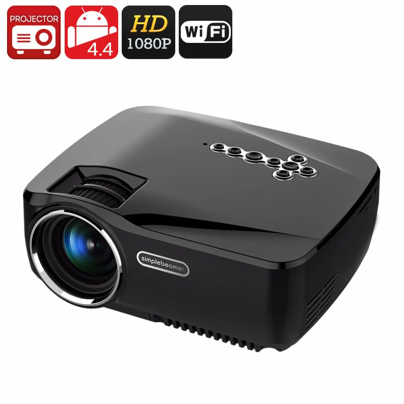 1200 Lumen Android 4.4 Projector - 1080P Support, 25 to 100 Inch Display, Kodi, Dual Band Wi-Fi