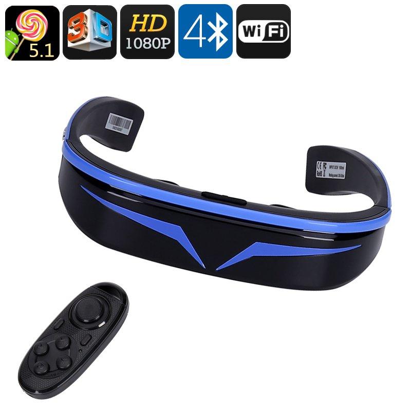3D Smart Video Glasses 98 Inch Virtual, 1080P, Google Play, Quad Core, WiFi, Bluetooth, 128GB