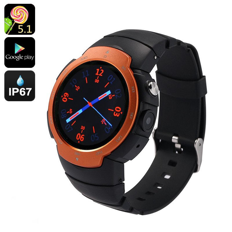 """Android Phone Watch """"Z9"""" - Android 5.1, IP67, GSM + 3G, 5MP Camera, GPS, Heart Rate Monitor"""