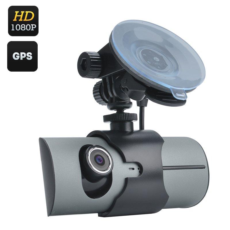Dual Camera Car DVR - 2.7 Inch Display, 130 Degree Lens, GPS, G-Sensor, Double CMOS Sensor, Decoding