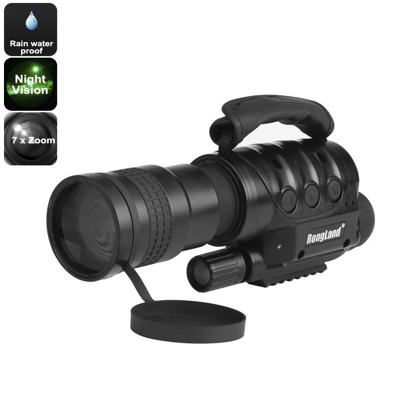Night Vision Monocular - 7x Zoom, 1000m Detection Range, Weatherproof, Built-in Camera, CCD Sensor
