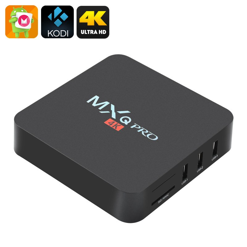 MXQ Pro 4K Ultra HD TV Box - KODI, Android 6.0, 64Bit Amlogic S905 Quad Core, H.265 4K Decoding