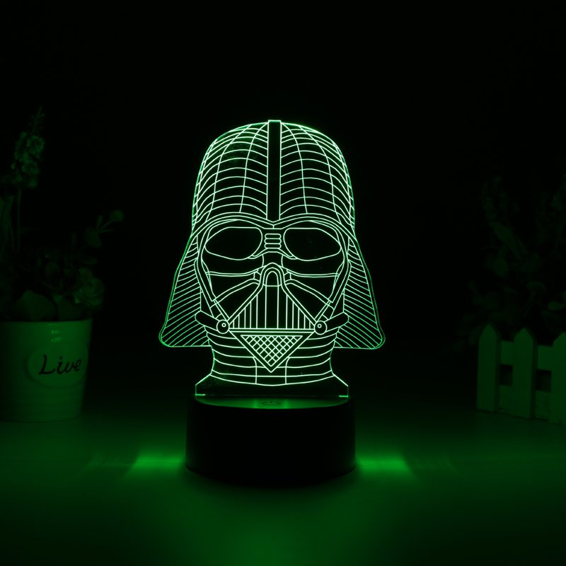 Darth Vader 3D LED Light - 7 Colors, 2 Light Modes, Power Through Micro USB Or AA Batteries, 5Watt