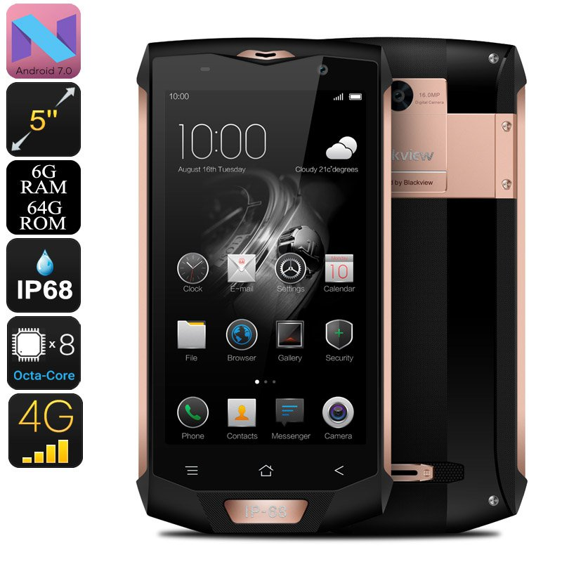 Blackview BV8000 Pro Android Phone - 2 IMEI, IP68, 1080p, Android 7, 6GB RAM, Octa-Core, 16MP Cam
