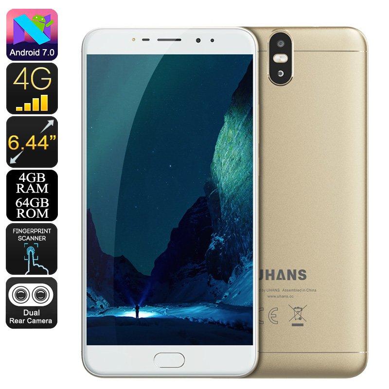 Uhans Max 2 Android 7 Phone - Octa-Core, 4GB RAM, 6.44-Inch Display, 1080p, 4300mAh, 13MP Dual-Cam