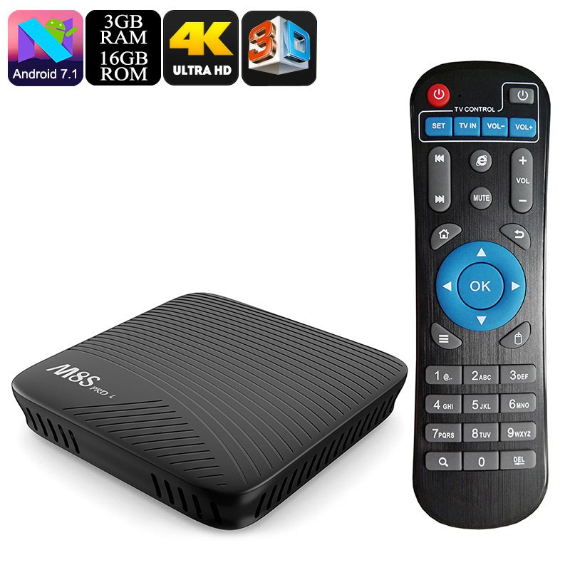 Mecool M8S Pro L Android TV Box - Octa Core, 3GB RAM, Airplay, Miracast, DLNA, Kodi, 16GB Memory