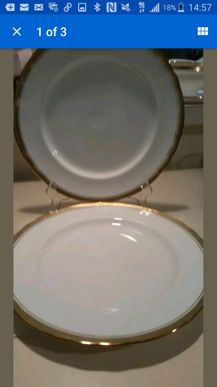 "Lot of 2 white  Aynsley Elizabeth #7946 dinner plates 10 1/2"" Plates Excellent"