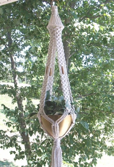 MACRAME PLANT HANGER WITH GOLD BEADS