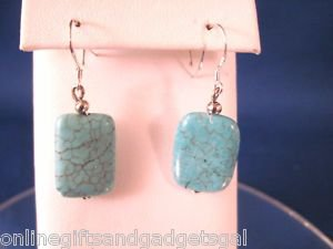 .925 STERLING SILVER AND TURQUOISE EARRINGS - DANGLE