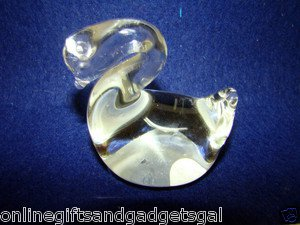 HEAVY GLASS SWAN PAPERWEIGHT