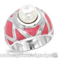 LAUREN G. ADAMS Vibrant Brand New Ring w/Faux pearl Crafted in Pink Enamel & 925