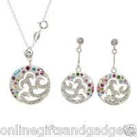 Jewelry set -Necklace & Earrings With Crystals & Cubic zirconia Made in .925 SS