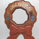 "HAND MADE ALL WOOD WREATH STYLE WITH BOW ""WELCOME"" PLAQUE"