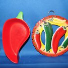 CHILI PEPPER THEMED CAST IRON TRIVET & CERAMIC CHILI PEPPER SHAPE BOWL SET