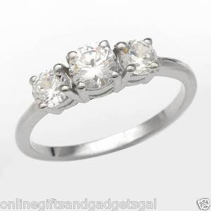 Exquisite Brand New Three-stone Ring With 1.75ctw Cubic zirconia