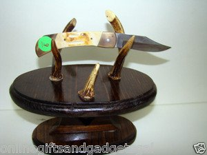 HANDCRAFTED KNIFE STAND/HANDCRAFTED KNIFE WITH DEER ANTLER HANDLE