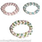 3 COLOR CHOICES OF PEARL & CRYSTALS BRACELETS - NEW