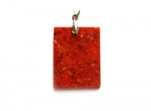 Sponge coral flat rectangle pendant (30x40mm)