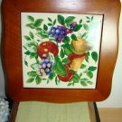 VINTAGE PAIR OF PLATES AND WOODEN FRUIT DECOR