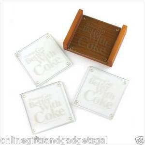 Better With Coke Coaster Set nifty etched glass coasters - BRAND NEW