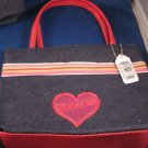 SMALL DEMIN PRINCESS TOTES - 3 TRIM COLOR CHOICES - NEW AND FREE SHIPPING