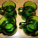 4 ANTIQUE SMALL GREEN GLASS JARS - STAMPED WTIH DUAL STAGS