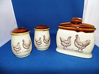 "1979  ""COUNTRY ROAD"" STONEWARE ROOSTER/HEN NAPKIN HOLDER & SALT AND PEPPER SET"