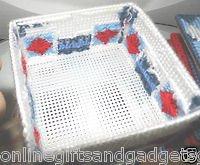HANDMADE COASTER SET - RED,BLUE AND WHITE