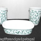 SET OF 3 PORCELAIN BATHROOM ACCESSORY - SOAP DISH, CUP AND TOOTH BRUSH HOLDER