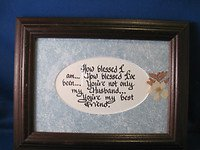 OLDER CALLIGRAPHY POEM PICTURE W/FRAME - THEME HUSBAND FROM ALICE MOORE GALLERY